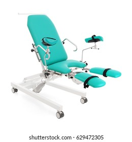 Gynecological Examination Chair Isolated on White Background. Gynaecology Table. Examination Table for Obstetrics and Gynecologist. Electric Height-Adjustable 3-Section Gynecological Chair
