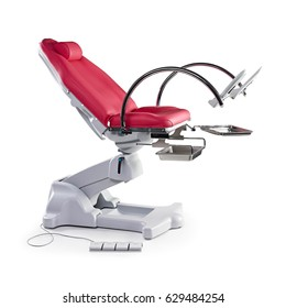 Gynecological Examination Chair Isolated on White Background. Gynaecology Table. Examination Table for Obstetrics and Gynecologist. Electric Gynecological Chair. Medical Equipment