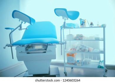 gynecology in the clinic / gynecology room, medical instruments, interior of the genicology clinic