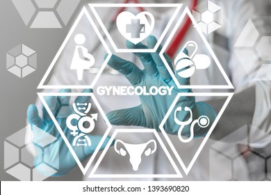 Gynecology Health Care concept. Gynecologist uses on a virtual screen of the future and sees the word: GYNECOLOGY.