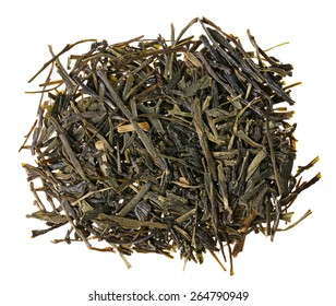Gyokuro green tea heap isolated on white