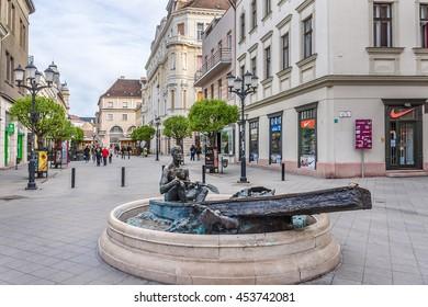 GYOR, HUNGARY - APRYL 21, 2014: Street view of Gyor old town. Gyor (or Raab) - capital of Gyor-Moson-Sopron county and Western Transdanubia region.