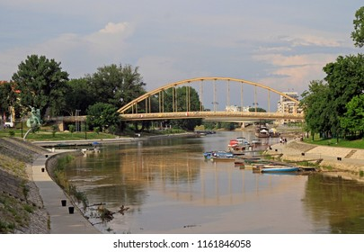 Gyor, Hungary - May 29, 2018: Bank of the Raba river in the hungarian city Gyor