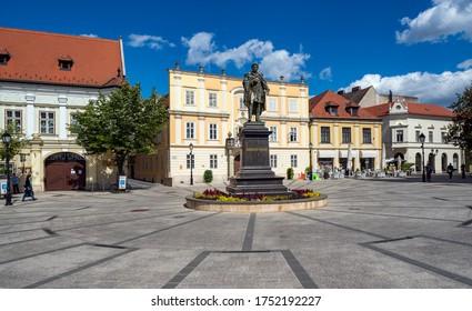 GYOR - JUNE 4, 2020:  downtown of Gyor, Hungary. Gyor has a beautiful baroque old city.