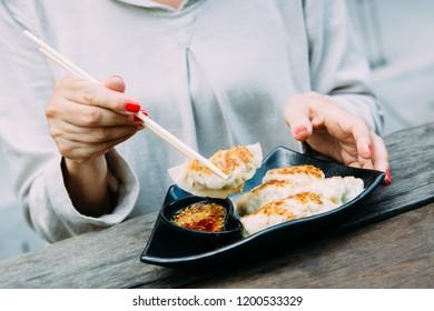 Gyoza dumplings. Asian street food.