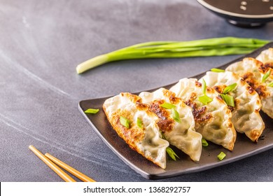 Gyoza or dumplings snack with soy sauce, selective focus, copy space.