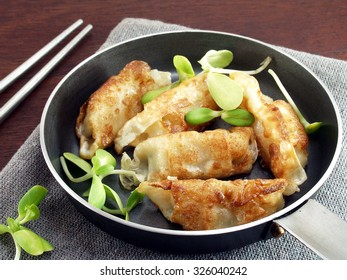 gyoza Japanese food in pan on gray tablecloth and wooden floor, fried dumplings with vegetables, eating culture of Asia