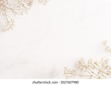 Gypsophila (baby breath flower) background. Frame for text made of dried white wedding flowers. Copy space. Pastel colors. Top view. Flat layout template. Card design.