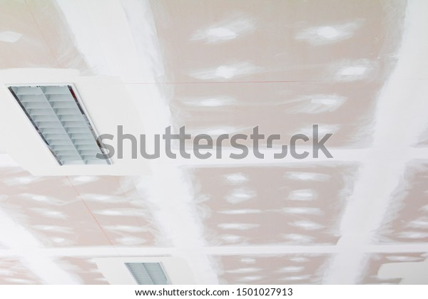 Gypsum Board Ceiling Structure Plaster Mortar Royalty Free