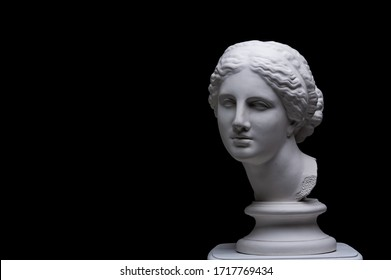 Gypsum copy of ancient white statue of bust of Venus with black background .Plaster sculpture woman face. The goddess of love in Greek mythology. Renaissance epoch.