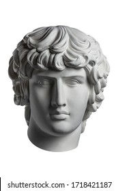 Gypsum copy of famous ancient statue Antinous head isolated on a white background. Plaster antique sculpture young man face. Renaissance epoch. Portrait.