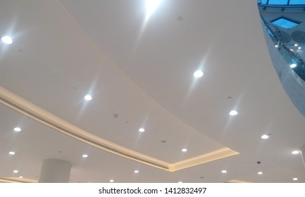 gypsum false ceiling with bulk head and emulsion painted with white color and this interior finishes done for a big shopping mall