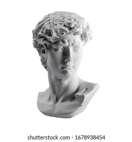 Gypsum statue of David's head. Michelangelo's David statue plaster copy isolated on white background. Ancient greek sculpture, statue of hero