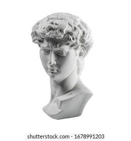 Gypsum statue of David's head. Michelangelo's David statue plaster copy isolated on white background. Ancient greek sculpture, statue of hero