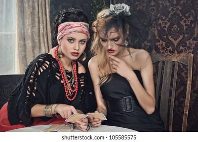 Gypsy fortune-teller cards spells
