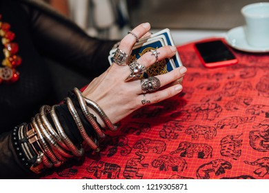 Gypsy hands and tarot cards