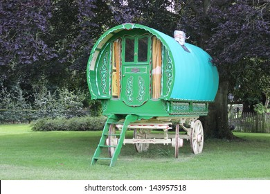 A Gypsy Wagon on the Grass