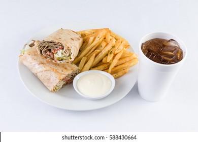 Gyro Beef Shawerma Pita Sandwich with fries and soda in Mediterranean Levantine Cuisine