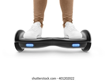 Gyro scooter drive. Two wheel transport device. Electriic hyroscooter driving. Person self balancing hoverboard. Driving giroscooter. Hyroscooter. Man stand on hover board.