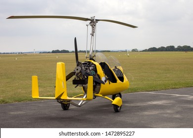 gyroplane on the tarmac of an aerodrome