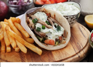 Gyros, greek wrapped sandwich similar to turkish doner kebab