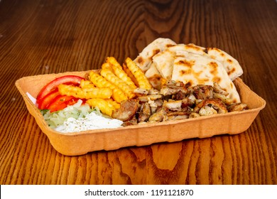 Gyros with meat, potato and sauce
