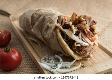 Gyros wrapped in pita bread, a popular street food in Greece