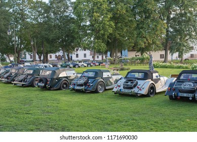 GYSINGE, SWEDEN - AUGUST 1 2018: Mog east autumn event with Classic Morgon cars in a row on August 1, 2018 in Gysinge, Sweden
