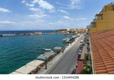 GYTHEIO, GREECE - MAY 26: View of the town waterfront on May 26, 2018 in Gytheio. Gytheio is the largest and most important town in Mani peninsula, Peloponnese, Greece.