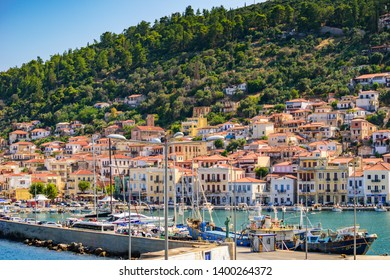 GYTHEIO, LACONIA, GREECE - AUGUST 2018: View of the picturesque coastal town of Gythio, Peloponnese, Greece in August 2018