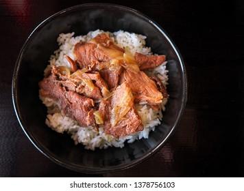 Gyudon - traditional Japanese rice bowl dish. Asian Cuisine. Donburi