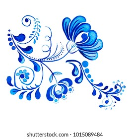 Gzhel. Watercolor drawing isolated blue flower and branches. Russian traditions, floral element