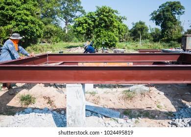H beam steel structure construction site work