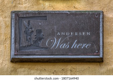 H C Andersen was here, a sign in the Den Voigtske Gaard, a place of his first love in Faaborg, Denmark, Aufust 16, 2020
