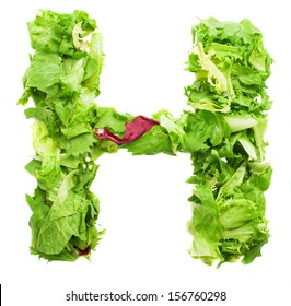 h lettuce letter on a white background
