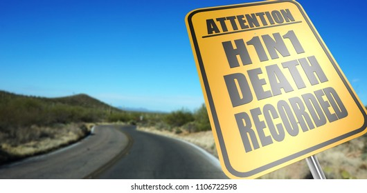 H1N1 death recorded road sign on a sky background and dessert road