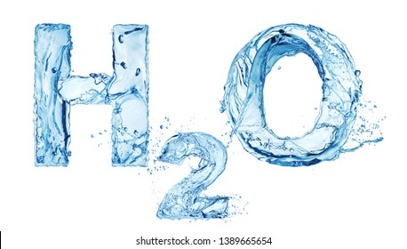 H2O water letters isolated on white background