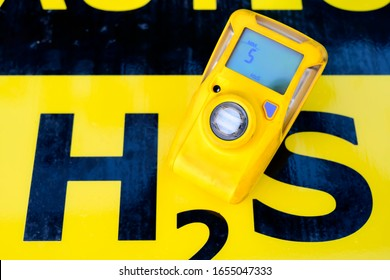 H2S gas detector isolated on a H2S warning board.