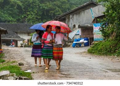 HA GIANG, VIETNAM - 5/24/2016: School girls in a village in Ha Giang, Vietnam