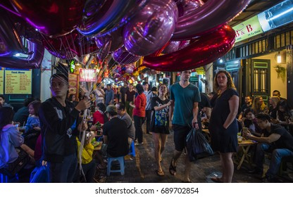 Ha Giang, Vietnam - April 12, 2017: The most bustling food street and nightlife area for foreigner tourists in Hanoi, Vietnam