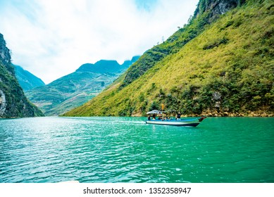 Ha Giang, VIETNAM - FEB 23, 2019:  Ma Pi Leng Mountain view from Nho Que River, one of the most beautiful is a River  in Vietnam