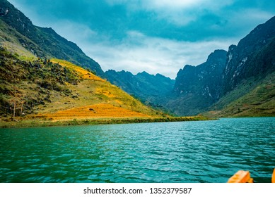Ha Giang, VIETNAM - FEB 24, 2019:  Ma Pi Leng Mountain view from Nho Que River, one of the most beautiful is a River  in Vietnam