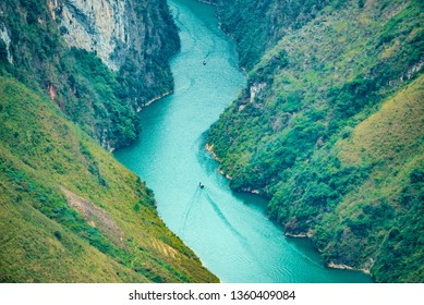 HA GIANG,  VIETNAM - FEB 25, 2019: Nho Que River view from Ma Pi Leng Pass, one of the most beautiful are mountain and river in Ha Giang,  Vietnam