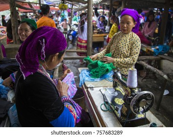 Ha Giang, Vietnam - Sep 30, 2017: A typical weekly flea market taking place in Lung Phin commune, Dong Van district. Flea market is very popular as one kind of small business in Vietnam.