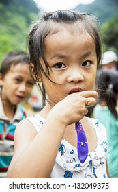 Ha Giang, Vietnam - September 19, 2015: Hmong children in Vietnam, In the northern province of Ha Giang in Vietnam. An area adjacent to China.