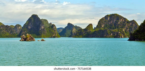 Ha Long bay islands Halong mountains in South China Sea, Vietnam. UNESCO World Heritage Site Asia. Indochina Discovery.