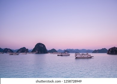 Ha Long Bay, Vietnam - 1st Oct 2016: Panoramic view of Ha Long Bay in the sunrise. Located in the north of Vietnam, Ha Long Bay is one of the world's most famous nature heritages