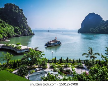 Ha Long / Vietnam- Sep 04,2019 : Cruise are docking at the marina harbour with Ha Long Bay background