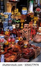 HA NOI, VIET NAM - 2018: Shop sell worship products in Hang Quat Street