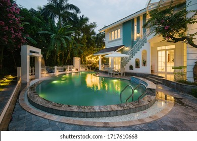 Ha Noi / Viet Nam - April 2019: Luxury Villa in Viet Nam with garden and pool